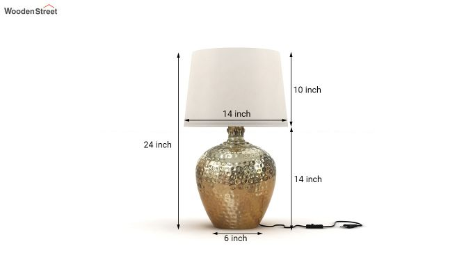 Hora Metal Golden Table Lamp with White Shade-3