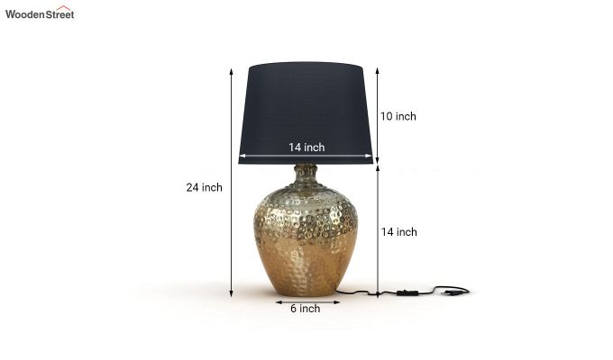 Hora Metal Golden Table Lamp with Black Shade-3