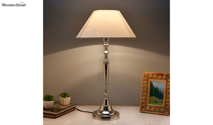 Imperial Nickel Brushed White Table Lamp-1