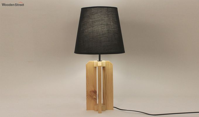 Inca Beige Wooden Table Lamp with Black Shade-1