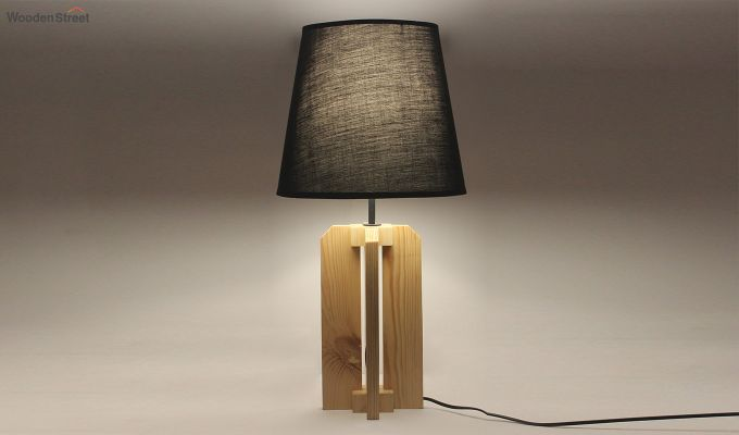 Inca Beige Wooden Table Lamp with Black Shade-2