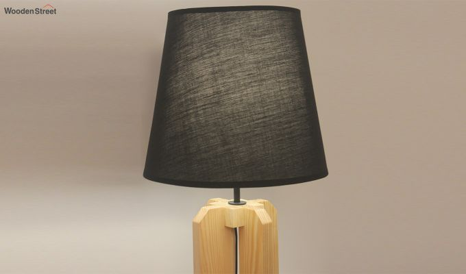 Inca Beige Wooden Table Lamp with Black Shade-3