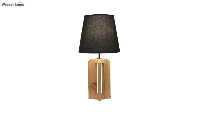 Inca Beige Wooden Table Lamp with Black Shade-5