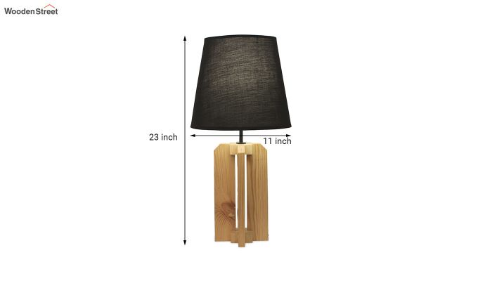 Inca Beige Wooden Table Lamp with Black Shade-6
