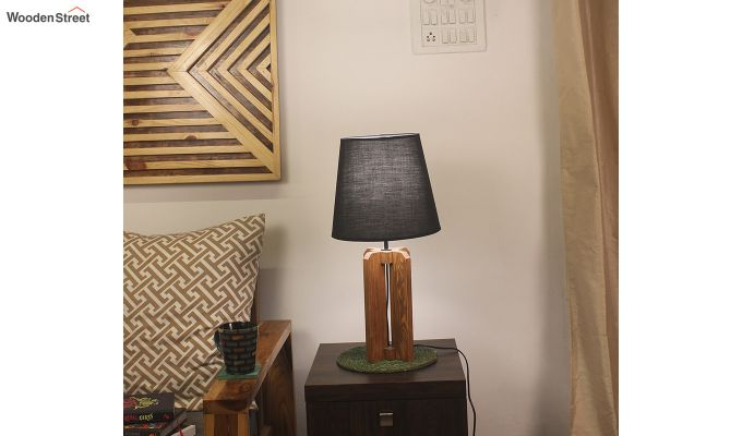 Inca Brown Wooden Table Lamp with Black Shade-1