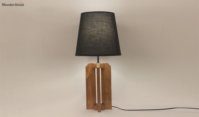 Inca Brown Wooden Table Lamp with Black Shade-2