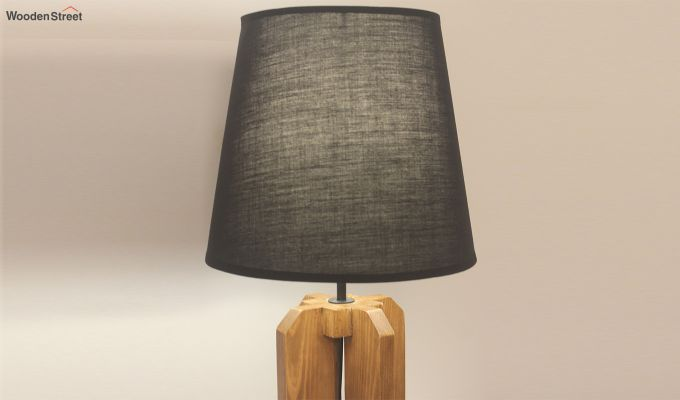 Inca Brown Wooden Table Lamp with Black Shade-3