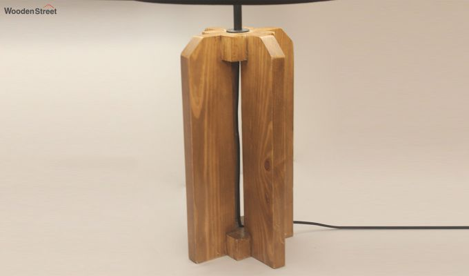 Inca Brown Wooden Table Lamp with Black Shade-4