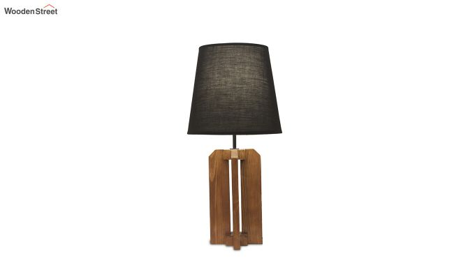 Inca Brown Wooden Table Lamp with Black Shade-5