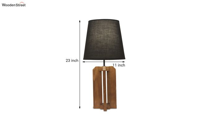 Inca Brown Wooden Table Lamp with Black Shade-6