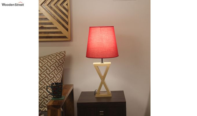 Infinity Wooden Table Lamp with Red Shade-1