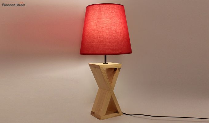 Infinity Wooden Table Lamp with Red Shade-3