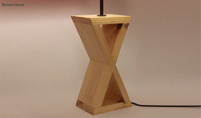 Infinity Wooden Table Lamp with Red Shade-5