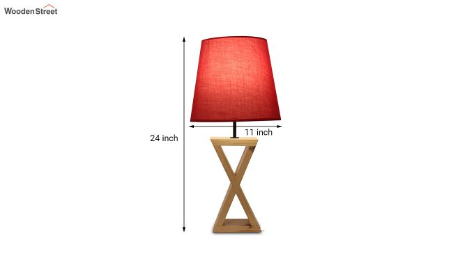 Infinity Wooden Table Lamp with Red Shade-6