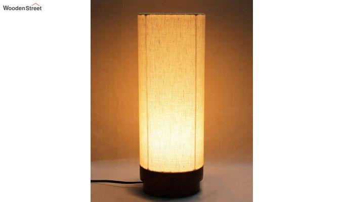 Ivory Fabric Lamp with Wooden Base-1