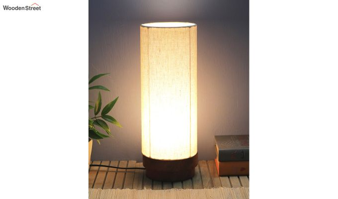 Ivory Fabric Lamp with Wooden Base-2