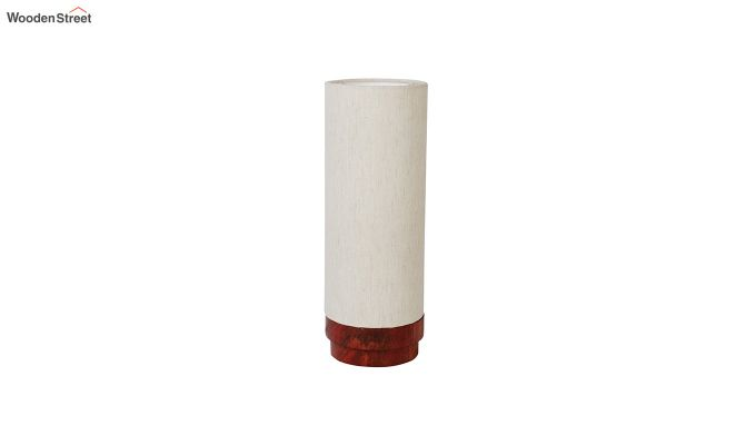 Ivory Fabric Lamp with Wooden Base-4