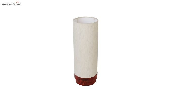 Ivory Fabric Lamp with Wooden Base-5