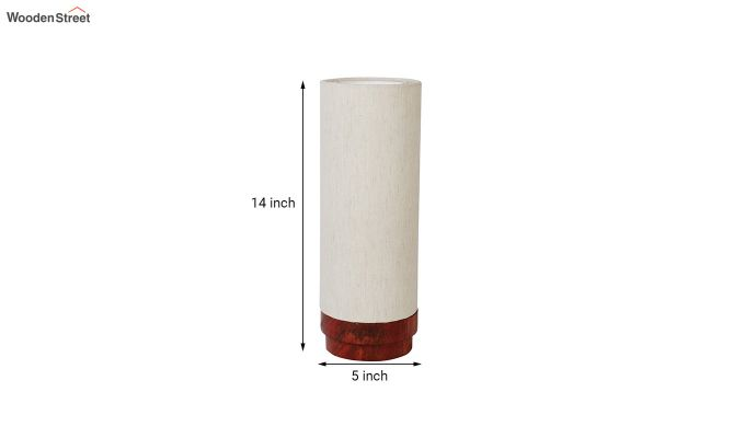 Ivory Fabric Lamp with Wooden Base-6