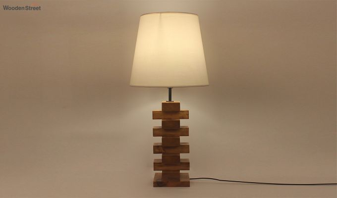 Jenga Brown Wooden Table Lamp with White Shade-1
