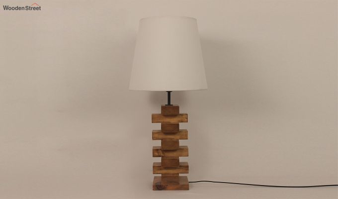 Jenga Brown Wooden Table Lamp with White Shade-2