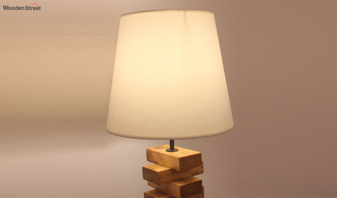 Jenga Brown Wooden Table Lamp with White Shade-3