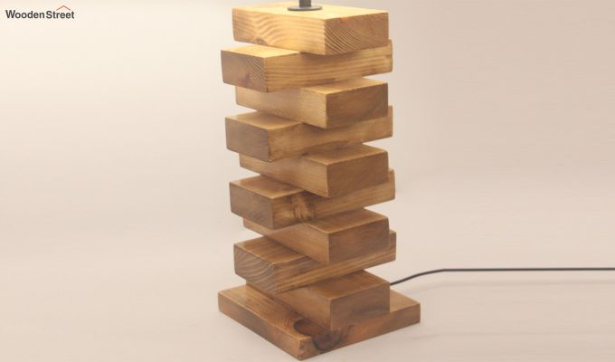 Jenga Brown Wooden Table Lamp with White Shade-4