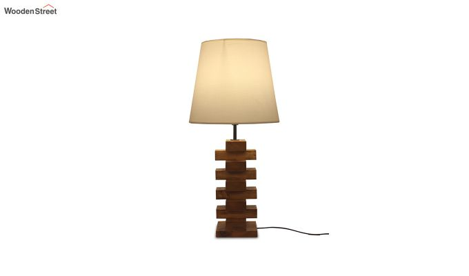 Jenga Brown Wooden Table Lamp with White Shade-5