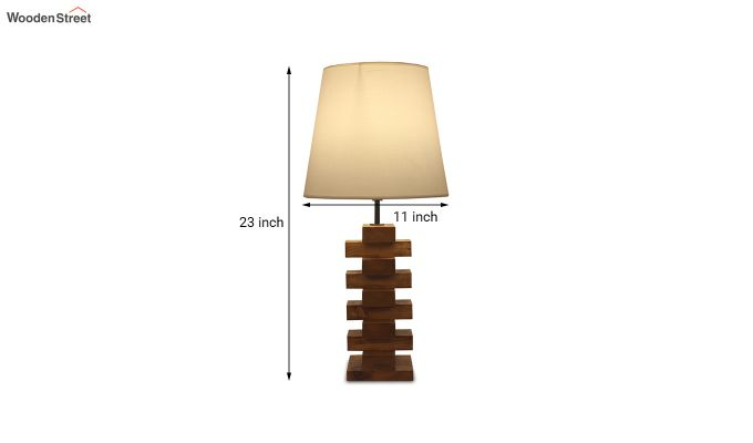 Jenga Brown Wooden Table Lamp with White Shade-6