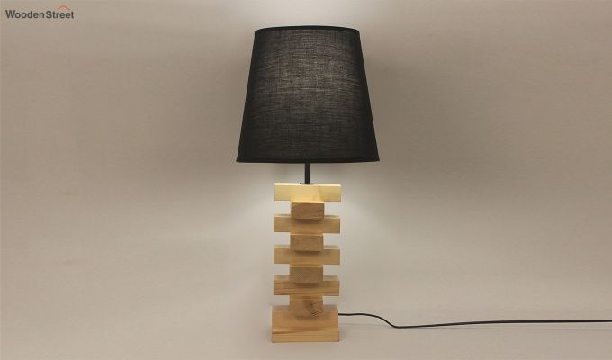 Jenga Beige Wooden Table Lamp with Black Shade-2