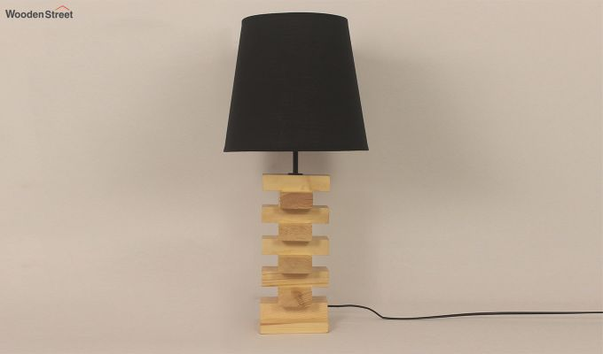 Jenga Beige Wooden Table Lamp with Black Shade-3