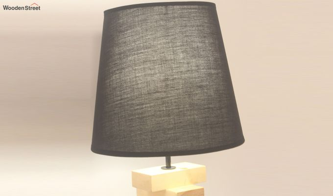 Jenga Beige Wooden Table Lamp with Black Shade-4