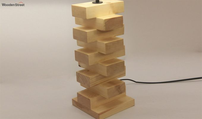 Jenga Beige Wooden Table Lamp with Black Shade-5