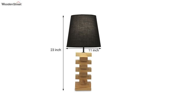 Jenga Beige Wooden Table Lamp with Black Shade-6