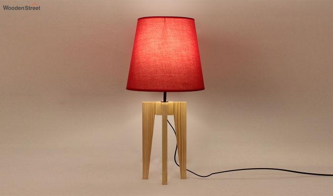 Jet Beige Wooden Table Lamp with Red Shade-1