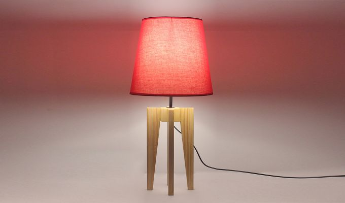 Jet Beige Wooden Table Lamp with Red Shade-2