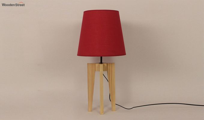 Jet Beige Wooden Table Lamp with Red Shade-3
