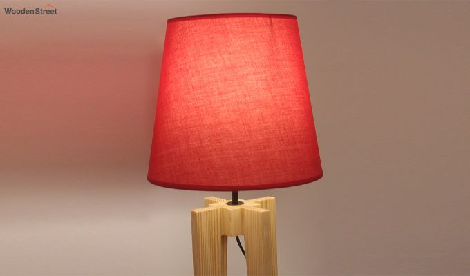 Jet Beige Wooden Table Lamp with Red Shade-4