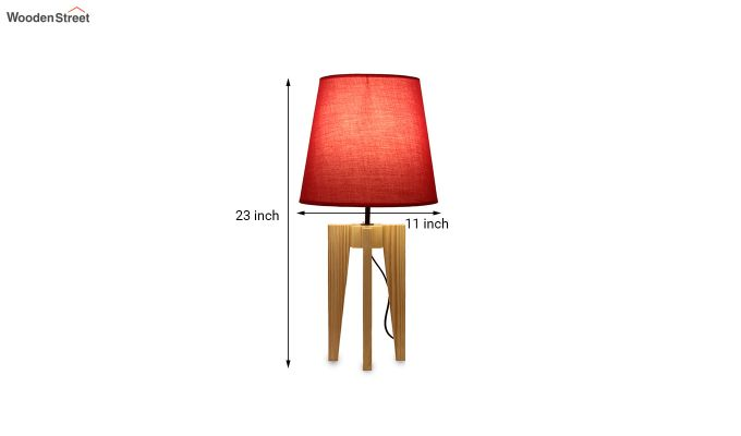 Jet Beige Wooden Table Lamp with Red Shade-6