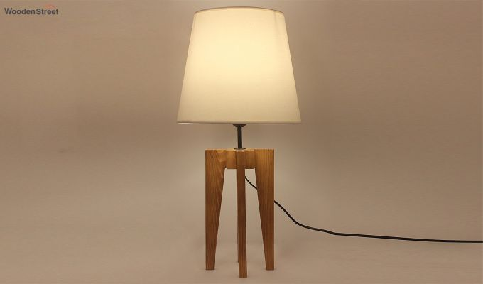 Jet Brown Wooden Table Lamp with White Shade-1