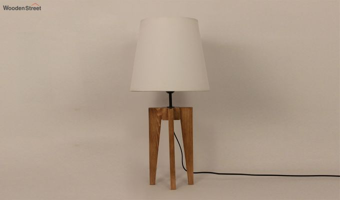 Jet Brown Wooden Table Lamp with White Shade-2