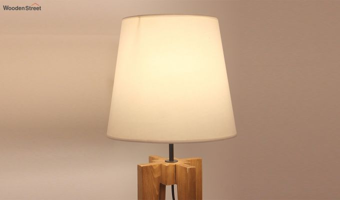 Jet Brown Wooden Table Lamp with White Shade-3