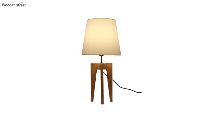 Jet Brown Wooden Table Lamp with White Shade-5