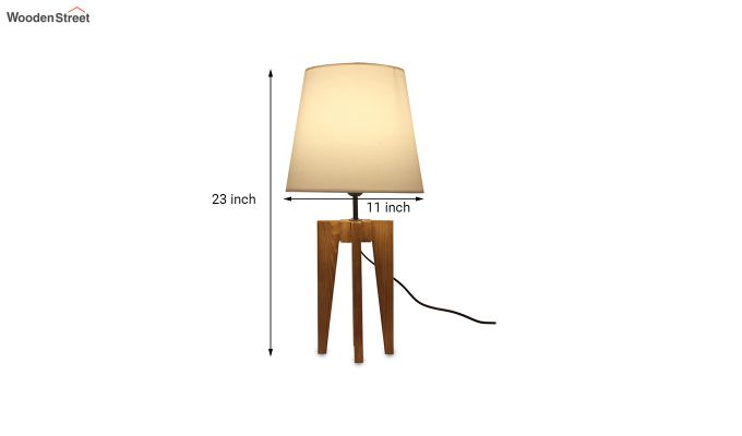 Jet Brown Wooden Table Lamp with White Shade-6