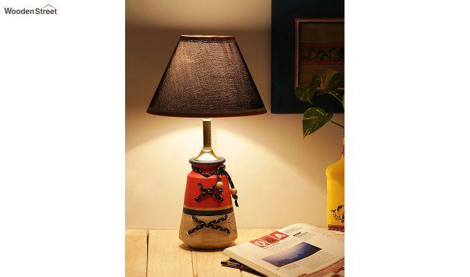 Madhubani Grey & Red Terracotta Table Lamp-1
