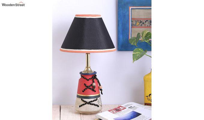 Madhubani Grey & Red Terracotta Table Lamp-2