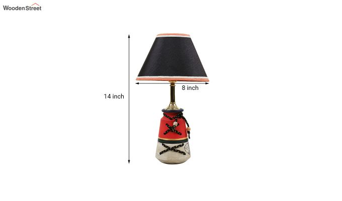 Madhubani Grey & Red Terracotta Table Lamp-6