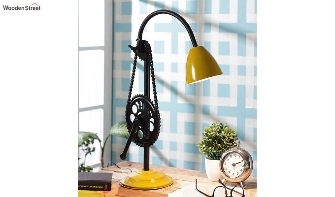 Mustard Clockwork Iron Study Lamp by Grated Ginger-1