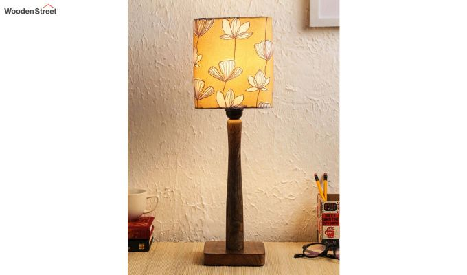 Mustard Floral Table Lamp-1