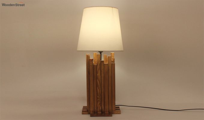 Palisade Wooden Table Lamp with White Shade-1